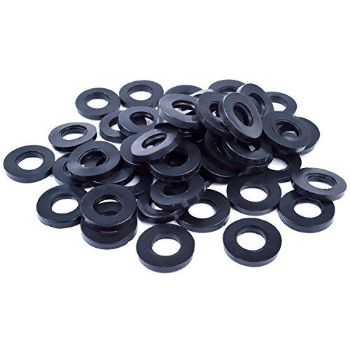 Arandelas de goma para ducha, 50 piezas de manguera junta plana para grifo ojal, negro