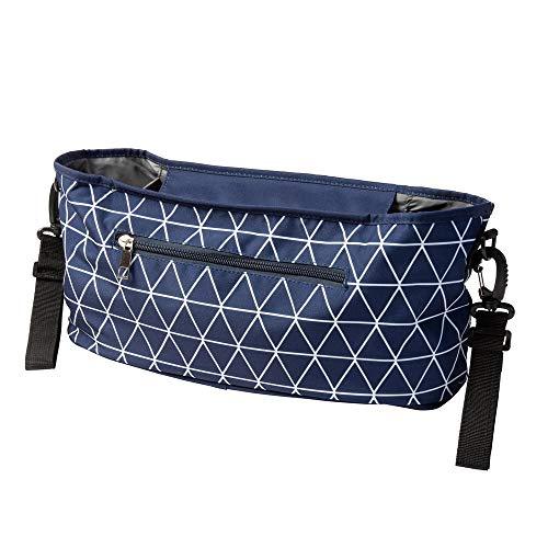 Kinderwagen Buggy Organizer mit Dreiecken blau (Farbe & Motiv wählbar) I praktische Kinderwagentasche zum Anhängen
