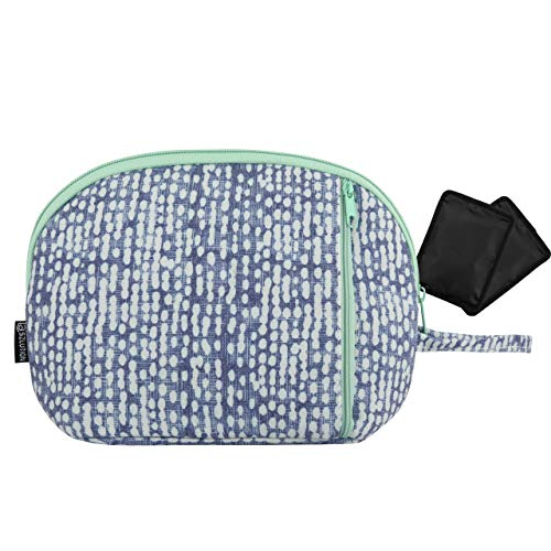 Freezable Snack Cooler Bag Breast Milk Cooler Bag Small Insulated Cooler Lunch Bag Can Coolers with 2 Separate Cooling Packs (White dots) (White dots) (Color Fishes) (White dots)
