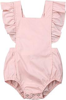 مجموعات ملابس الفتيات، مجموعة أزياء موحدة اللون للأطفال حديثي الولادة من القطن بذلة رومبير (100، وردي)