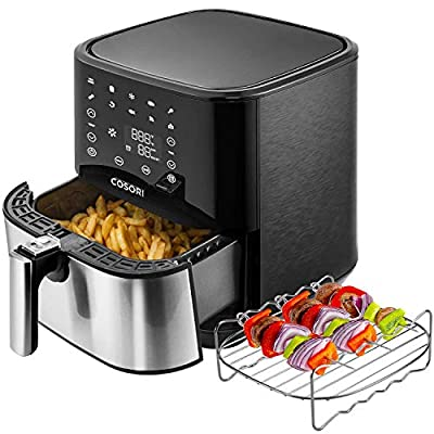 COSORI Stainless Steel Air Fryer (100 Recipes, Rack, 5 Skewers), 5.8Qt Large Air Fryers XL Oven Oilless Cooker, Preheat/Alarm, 9 Presets, Nonstick Basket, 2-Yr Warranty, ETL/UL Listed (Renewed)
