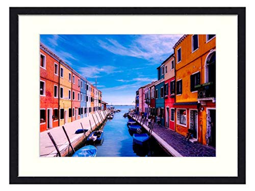 OiArt Wall Art Canvas Prints Wood Framed Paintings Artworks Pictures(20x14 inch) - Burano Venice Italy Vacation Holiday Tourism
