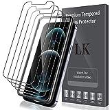 LK Compatible con iPhone 12/12 Pro 6.1 Pulgada Protector de Pantalla,4 Pack, Vidrio Templado, Equipado con Marco de Posicionamiento,Cristal Templado