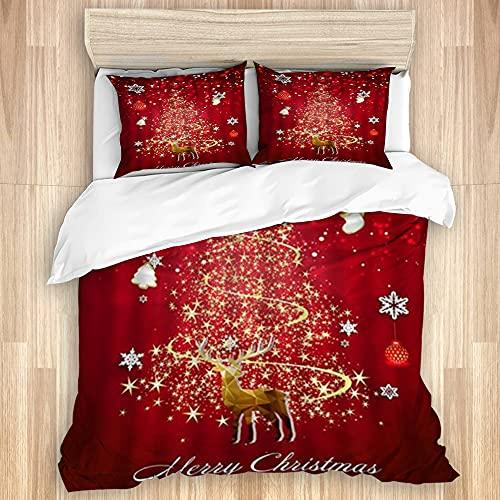 ASNIVI Juego de Funda de edredón de algodón Lavado, árbol de Navidad con Purpurina, Moderno Reno Fractal, Bolas de Copo de Nieve, Juego de Cama Suave de Lujo de 3 Piezas, tamaño Doble (sin edredón)