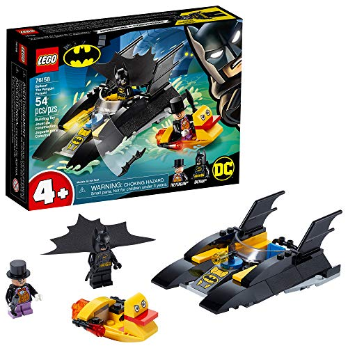 LEGO DC Batboat The Penguin Pursuit! 76158 Top Batman Building Toy for Kids, with Super-Hero Minifigures, 2 Boats, a Batarang and an Umbrella, Great Holiday or Birthday Gift, New 2020 (54 Pieces)
