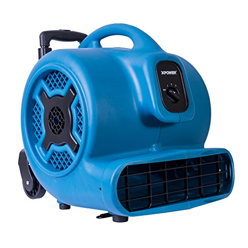 XPOWER P-800H Air Mover, Carpet Dryer, Floor Fan, Blower with Telescopic Handle & Wheels for Water Damage Restoration, Commercial Cleaning & Plumbing Use-3/4 HP, 3200 CFM, 3 Speeds, Blue