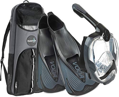 Phantom Aquatics Italian Design Snorkeling Full Face Snorkel Mask, Foldable 180 Degree Panoramic View Snorkeling Mask Fin Snorkel Set, BK-TT - 46