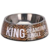 Gadget Zone UK® Puppy Dog Pet Cat Litter Food Feeding Weaning Silver Stainless Feeder Bowl Dish (King of Another Jungle)