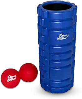 Fitness Blast Massage/Exercise/Therapy Blue Foam Roller 14x33cm Includes Free Red Peanut Ball
