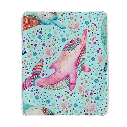 ALAZA Cooper Girl Cute Dolphin Throw Blanket Soft Warm Bed Couch Blanket Lightweight Polyester Microfiber 50x60 inch