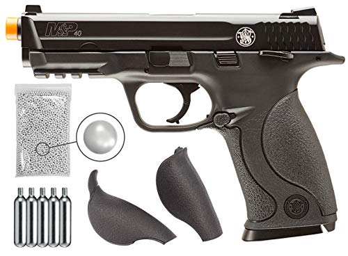 Wearable4U Elite Force M&P 40 C02 Blowback (KWC) Airsoft Pistol BB Air Soft Gun with 5X 12gr CO2 Tanks Pack of 1000 6mm 0.20g BBS Bundle (Black)