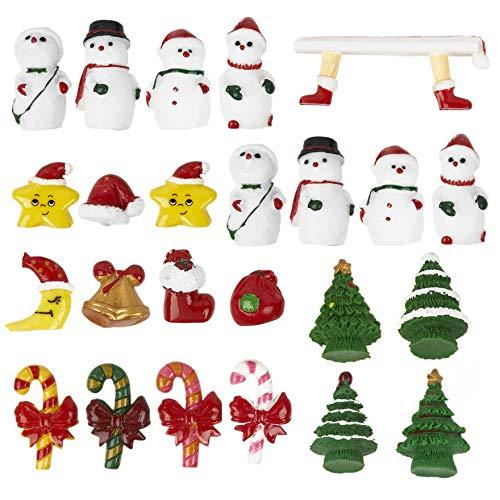 30 Figuras de Resina Navideña en Miniatura| Árboles Muñeco de Nieve Copos Nieve Calcetines Gorro Papá Noel y Más| Mini Adornos Pequeños Decoración Bricolaje Casa Muñecas Pueblo Navidad.