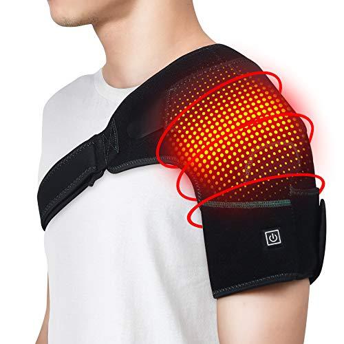Beheizte Schulterstütze Schulterbandage Schulterwärmer Schulter Unterstützung für Wärmende Schulter Schulterentspannung für Frauen und Herren(Keine Batterie)
