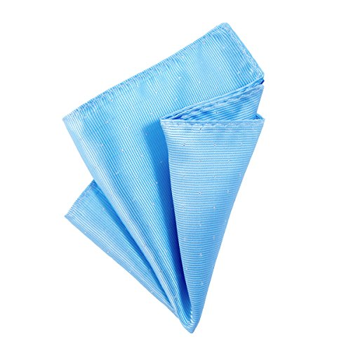DonDon Pañuelos de bolsillo con puntos plateados hombre de 25 x 25 cm para ocasiones especiales - Azul claro