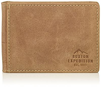 Buxton Men's Expedition Ii Rfid Leather Front Pocket Money Clip Wallet, Tan, One Size