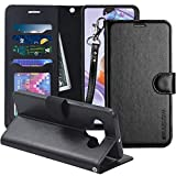 ERAGLOW for LG Stylo 6 Case, PU Leather Wallet Case Flip Protective Phone Cover [Stand Feature] with Wrist Strap and [4-Slots] ID&Credit Cards Pocket for LG Stylo 6 2020(Black)
