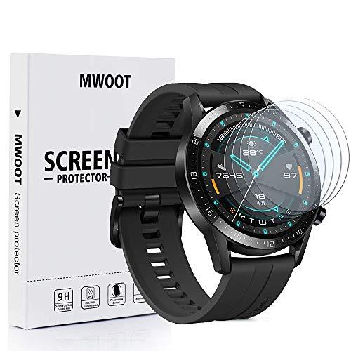 MWOOT 4 Stück Panzerglas Schutzfolie Kompatibel mit Huawei Watch GT2 46MM Bildschirmglas, 9H Festigkeit Kratzfest Schutzglas für Huawei GT2 46MM/Honor Magic Watch 2 46MM Bildschirmschutz