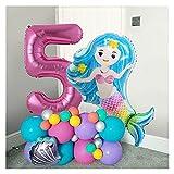 JSJJATF Globos 44pcs / Set Blue Mermaid Party Globos Ocean Theme 1st Cumpleaños niña Princesa Número Helio Globos Baby Shower Fiesta (Color : Number 5)