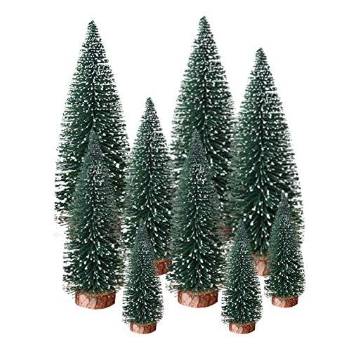Sunshine smile 9 Stück Weihnachtsbaum,Mini Weihnachts Baum,Christmasbaum Mini Grün,Weihnachtsbaum Miniatur,Künstlicher Weihnachtsbaum,Weihnachts Baum klein,Künstlich Klein Weihnachtsdeko (Grün)