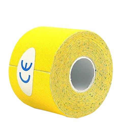 ROSENICE Kinesiologie Tape, Therapie Tape elastische Selbsthaftende Bandage für Sport, Physiotherapie und Medizin 500x2,5 cm (Gelb)