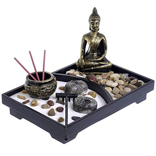 London Boutique Zen Garten- und Deko-Steinen (mit Halterung, Weiß, mit Thai Buddha–l23W16h3cm