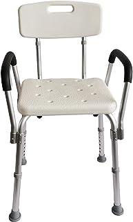サンパーシー シャワーチェア 介護 椅子 手すり 肘掛付 高さ調節可能 37cm~50cm 耐荷重約136kg 背もたれ付き 工具不要 [並行輸入品]