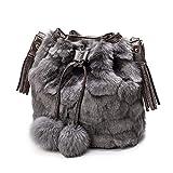 TONSEE Schultertaschen, Winter Plüsch Eimer Drawstring Bag Frauen Seil Tote Fell Schultertasche...