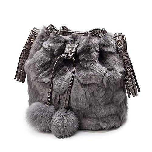 TONSEE Schultertaschen, Winter Plüsch Eimer Drawstring Bag Frauen Seil Tote Fell Schultertasche (Grau)