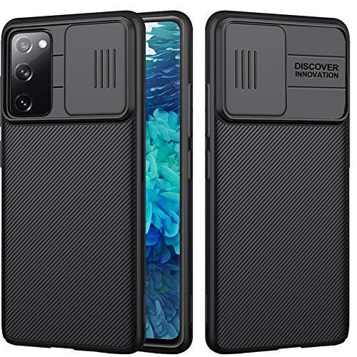 AROYI Funda Compatible con Samsung Galaxy S20 FE 4G/ 5G,Tapa Deslizante para la cámara-Negro