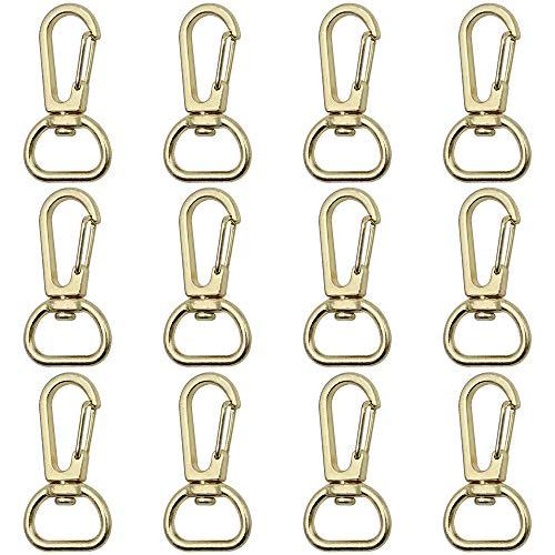 SRunDe 12 Stücke Metallwirbel Verschlüsse Tasche Hummer Swivel Trigger Clips Karabinerhaken Gold D Ring Schlüsselanhänger Schwenker Schlüsselring Drehgelenk Karabinerhaken aus Metall