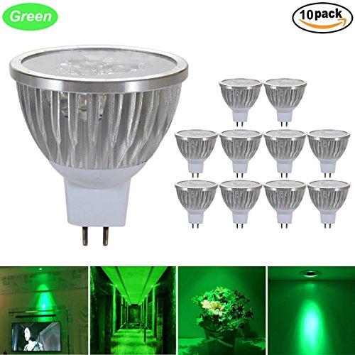 GreenSun LED Lighting 10er Pack MR16 GU5,3 LED Lampe, 3W Reflektorlampe 240LM, Ersetzt 35 Watt Glühlampen, 12V LED Leuchtmittel Birnen Spotstrahler, 120° Abstrahwinkel, Grün-Licht