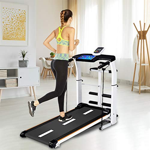 Folding Treadmill, 4 in1 Multifunctional Manual Treadmill with LCD Display, Running Belt, Supine, T-wisting, Draw Rope, Adjustable Height Walking Machine for Home Gym 200 KG Capacity (Non-electric)