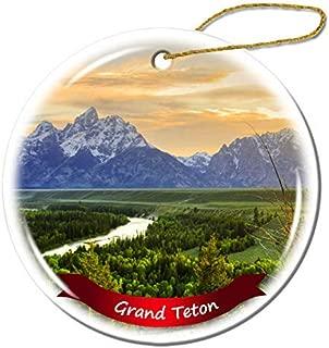 Wini2342ckey Christmas Decoration,Grand Teton National Park US Wyoming Christmas Ornament Porcelain Double-Sided Ceramic Ornament,3 Inches