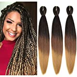 MYCHANSON 6packs EASY Braiding Hair Pre Stretched Braiding Hair Itch Free Synthetic Ombre Color Professional Braiding Hair Extensions for Crochet Braids Twist Hair (1B/Brown/Light Brown)