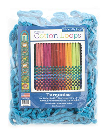 Harrisville Designs Friendly Loom Potholder Cotton Loops 10 Inch Pro Size Loops Make 2 Potholders, Weaving Crafts for Kids and Adults-Turquoise