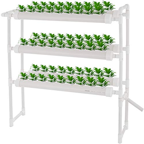 DreamJoy 3 Layers 54 Plant Sites Hydroponic Site Grow Kit 6 Pipes Hydroponic Growing System Water Culture Garden Plant System for Leafy Vegetables Lettuce Herb Celery Cabbage