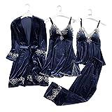 Damen Nachtwäsche Set, 4-teilige Pyjama-Set, Frauen Schlafanzug Sexy Bequem für Frühling Herbst...