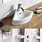 AWESON Small Corner Wall Mount Vessel Sink,White Vitreous China, Above Counter...