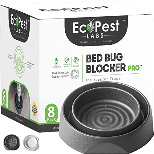 ECOPEST Bed Bug Interceptors - 8 Pack | Bed Bug Blocker (Pro) Interceptor Traps (Black) | Insect Trap, Monitor, and Detector for Bed Legs