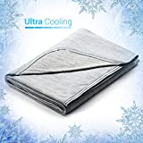 Elegear Revolutionary Queen Size Cooling Blanket Absorbs Body Heat to Keep Adults, Children, Babies Cool on Warm Nights. Japanese Q-Max 0.4 Cooling Fiber,100% Cotton Backing Blanket- Grey, 78'x86'