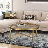Henn&Hart Gold Finish coffee table, 15' H x 36' L x 36' W
