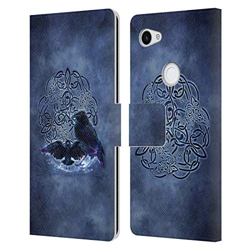 Head Case Designs Officially Licensed Brigid Ashwood Raven Celtic Wisdom Leather Book Wallet Case Cover Compatible with Google Pixel 3a XL