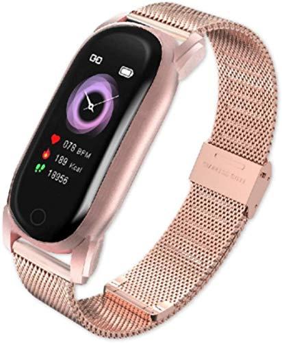AMBM Reloj inteligente para hombre y mujer, presión arterial, banda inteligente, ritmo cardíaco, pulsera de fitness, impermeable, reloj inteligente para mujer Android IOS (color acero plateado)