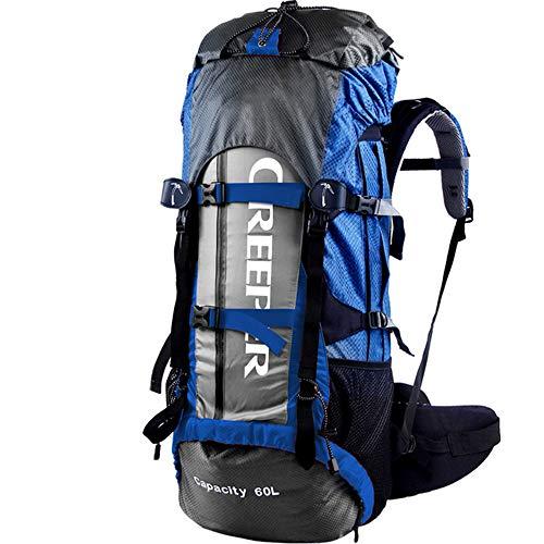 Mochila Senderismo YDHWWSH Hombres Nylon Mochila 60l Impermeable Mochilas Marco Externo Bolsa De Viaje Escalada Camping Senderismo Bolsa De Montaña 72cm *32cm *13cm Azul