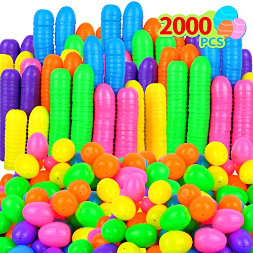 Evoio 2000 Plastic Easter Eggs, Hinged Fillable Easter Eggs Hunt, Easter Theme Party Favor, Easter Basket Stuffers, Classroom Prize Supplies Assorted Colors
