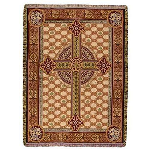 Simply Home Irish Celtic Cross Rectangular Tapestry Throw Blanket 50' x 60'