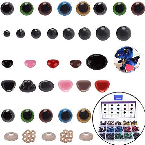 HIQE-FL Ojos de Seguridad Amigurumi,Plástico de Colores Ojos de Seguridad y Narices,Arandelas para Muñeca,Ojos de Seguridad de Bricolaje,Ojos de Seguridad Manualidades