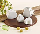 Juego para Azúcar y Leche Sal y Pimienta - Vajilla Porcelana blanca 4 piezas-...