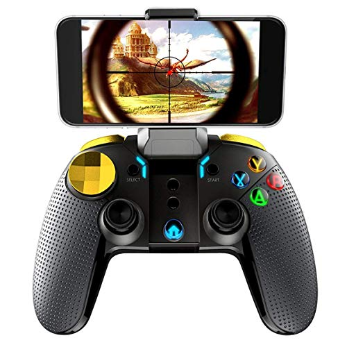 QCHEA Gamepad Controller, Bluetooth Wireless Wireless Gaming Controller Telescópico 20+ Tiempo de Trabajo Gamepad Joystick Soporte iOS 11.0 o Superior Sistema con Cable USB