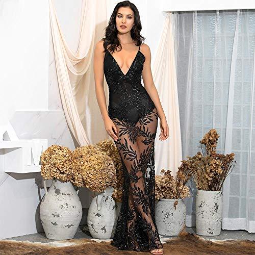 Vestido de Fiesta Pegado con Purpurina y Escote en V Profundo Negro con Espalda Abierta y Hojas Ajustadas